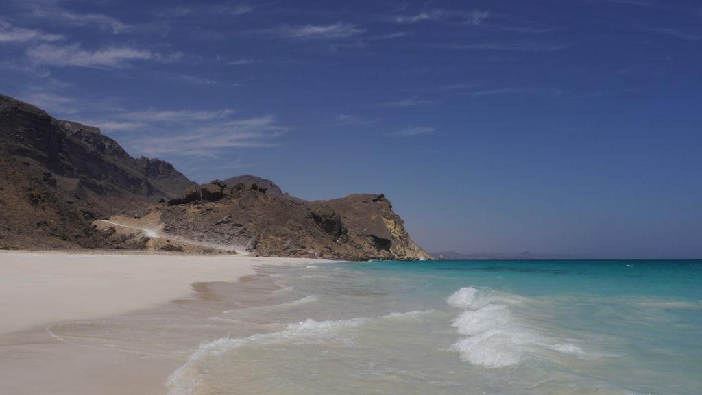 Fazaya beach, sandy beach on the west coast of dhofar. Ideal spot for swimming. West coast trip from Salalah.