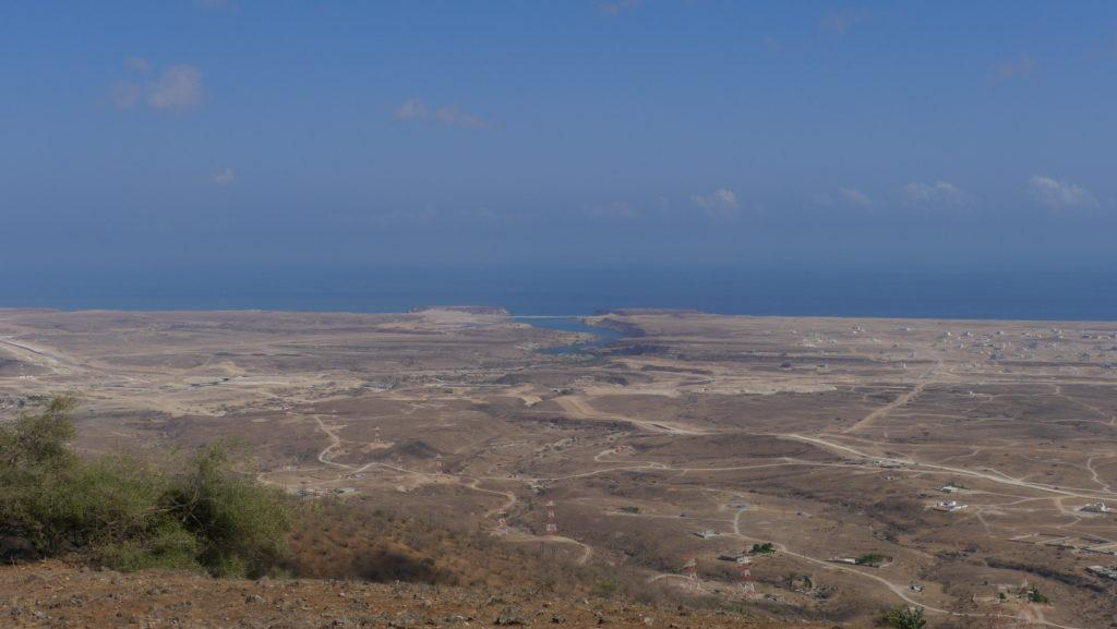 Panorama of Khor Rori estuary with the ruines of Samharam on the top, Salalah East tour, Mountain Safari.