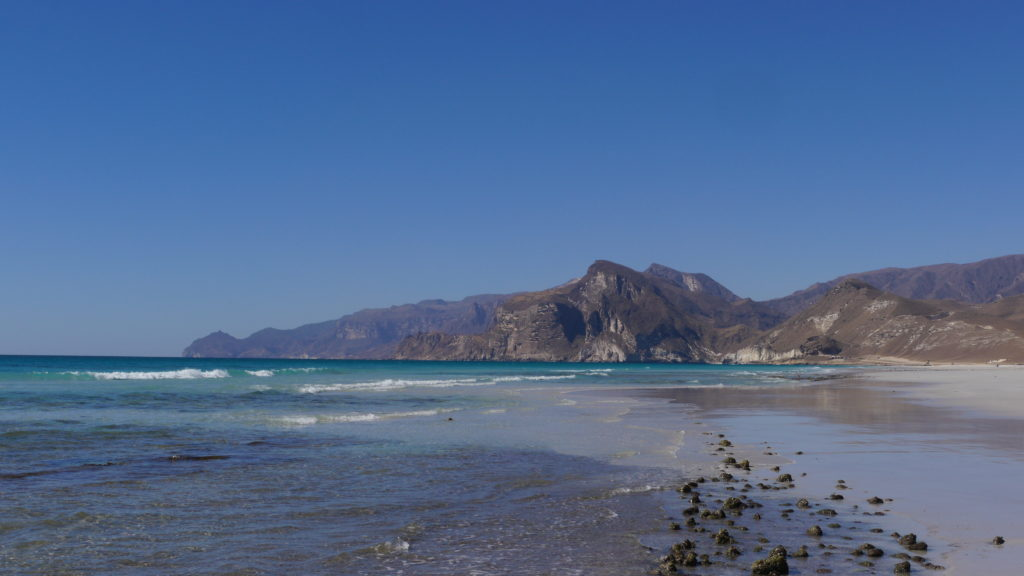 The beautiful sandy beach in Mughsail, west of Salalah, is an excellent swimming spot. Marneef cave and blowholes are found on the end of the beach.